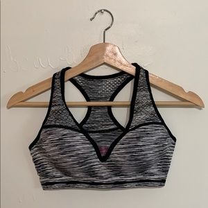 PINK black and gray sports bra